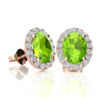 2 Carat Oval Shape Peridot and Halo Diamond Stud Earrings In 14 Karat Rose Gold