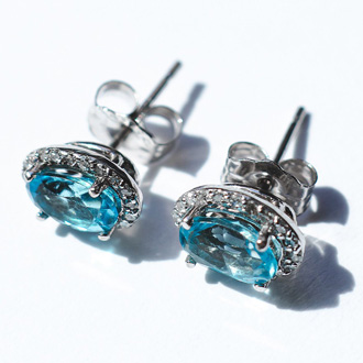 2 1/4 Carat Oval Shape Blue Topaz and Halo Diamond Stud Earrings In 14 Karat White Gold