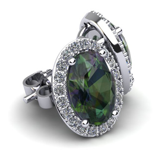 2 1/4 Carat Oval Shape Mystic Topaz and Halo Diamond Stud Earrings In 10 Karat White Gold