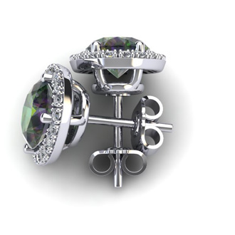 2 1/4 Carat Oval Shape Mystic Topaz and Halo Diamond Stud Earrings In 14 Karat White Gold