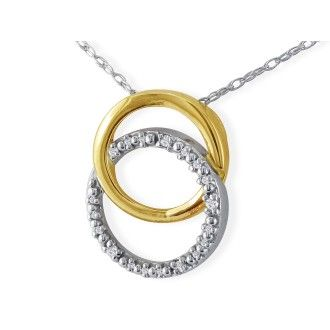 .02ct Circle Style Diamond Pendant in 10k Two Tone Gold