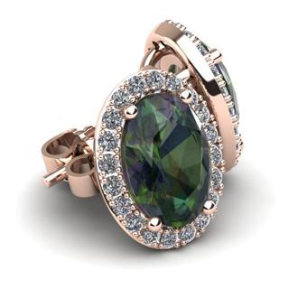 2 1/4 Carat Oval Shape Mystic Topaz and Halo Diamond Stud Earrings In 10 Karat Rose Gold