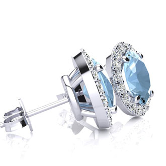 1 3/4 Carat Oval Shape Aquamarine and Halo Diamond Stud Earrings In 10 Karat White Gold