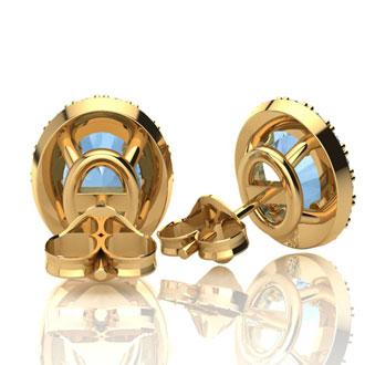 1 3/4 Carat Oval Shape Aquamarine and Halo Diamond Stud Earrings In 10 Karat Yellow Gold