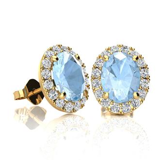 1 3/4 Carat Oval Shape Aquamarine and Halo Diamond Stud Earrings In 14 Karat Yellow Gold