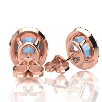 1 3/4 Carat Oval Shape Aquamarine and Halo Diamond Stud Earrings In 10 Karat Rose Gold