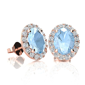 1 3/4 Carat Oval Shape Aquamarine and Halo Diamond Stud Earrings In 14 Karat Rose Gold