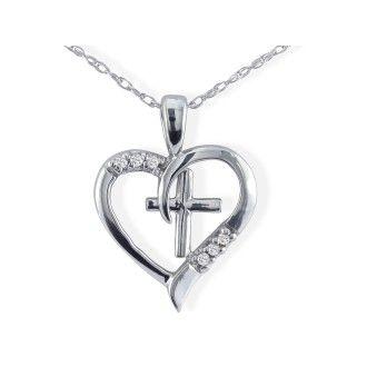 .03ct Cross Diamond Heart Pendant in 10k White Gold