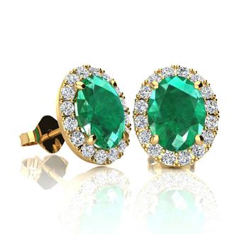 1 3/4 Carat Oval Shape Emerald and Halo Diamond Stud Earrings In 14 Karat Yellow Gold
