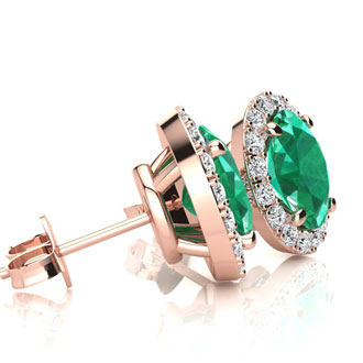 1 3/4 Carat Oval Shape Emerald and Halo Diamond Stud Earrings In 10 Karat Rose Gold