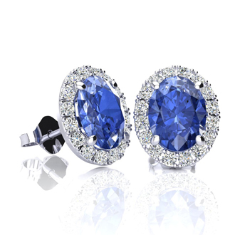 2 Carat Oval Shape Tanzanite and Halo Diamond Stud Earrings In 14 Karat White Gold