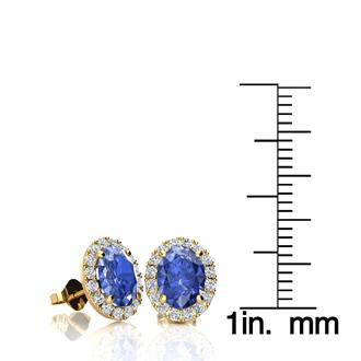 2 Carat Oval Shape Tanzanite and Halo Diamond Stud Earrings In 14 Karat Yellow Gold