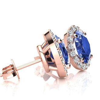 2 Carat Oval Shape Tanzanite and Halo Diamond Stud Earrings In 10 Karat Rose Gold