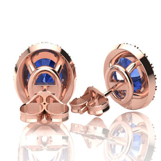 2 Carat Oval Shape Tanzanite and Halo Diamond Stud Earrings In 14 Karat Rose Gold