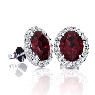 2 1/4 Carat Oval Shape Garnet and Halo Diamond Stud Earrings In 14 Karat White Gold