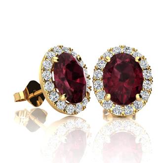 2 1/4 Carat Oval Shape Garnet and Halo Diamond Stud Earrings In 10 Karat Yellow Gold