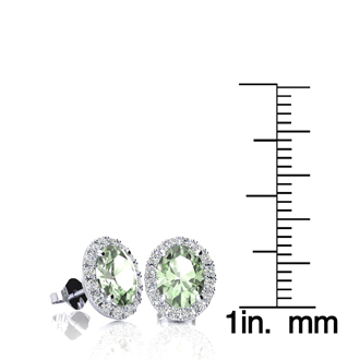 1 1/2 Carat Oval Shape Green Amethyst and Halo Diamond Stud Earrings In 14 Karat White Gold