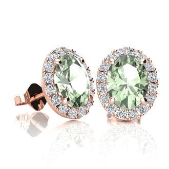 1 1/2 Carat Oval Shape Green Amethyst and Halo Diamond Stud Earrings In 10 Karat Rose Gold