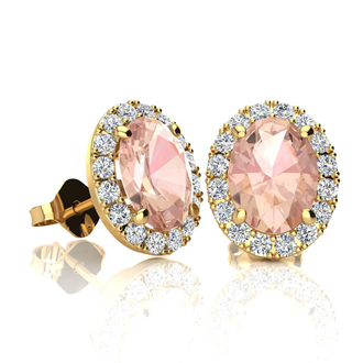 1 3/4 Carat Oval Shape Morganite and Halo Diamond Stud Earrings In 10 Karat Yellow Gold