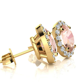 1 3/4 Carat Oval Shape Morganite and Halo Diamond Stud Earrings In 14 Karat Yellow Gold