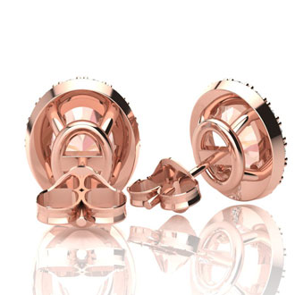 1 3/4 Carat Oval Shape Morganite and Halo Diamond Stud Earrings In 10 Karat Rose Gold