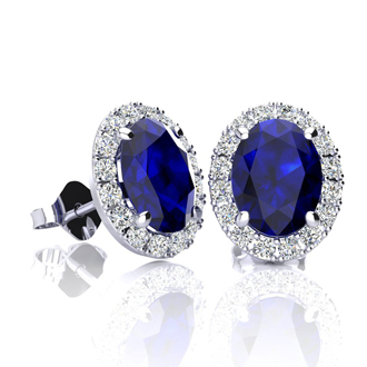 2 1/4 Carat Oval Shape Sapphire and Halo Diamond Stud Earrings In 14 Karat White Gold