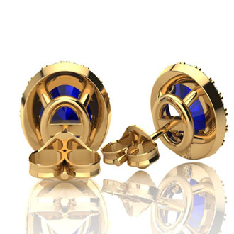 2 1/4 Carat Oval Shape Sapphire and Halo Diamond Stud Earrings In 10 Karat Yellow Gold