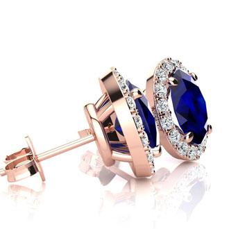 2 1/4 Carat Oval Shape Sapphire and Halo Diamond Stud Earrings In 14 Karat Rose Gold
