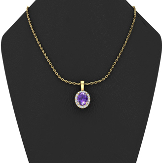 1/2 Carat Oval Shape Amethyst and Halo Diamond Necklace In 14 Karat Yellow Gold With 18 Inch Chain