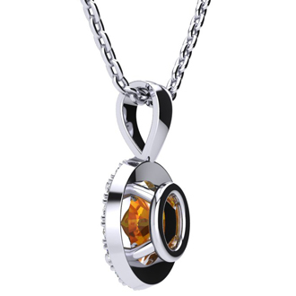 1/2 Carat Oval Shape Citrine and Halo Diamond Necklace In 10 Karat White Gold With 18 Inch Chain