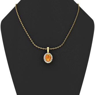 1/2 Carat Oval Shape Citrine and Halo Diamond Necklace In 14 Karat Yellow Gold With 18 Inch Chain