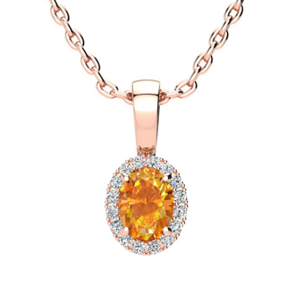 1/2 Carat Oval Shape Citrine and Halo Diamond Necklace In 10 Karat Rose Gold With 18 Inch Chain