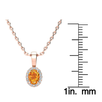 1/2 Carat Oval Shape Citrine and Halo Diamond Necklace In 14 Karat Rose Gold With 18 Inch Chain