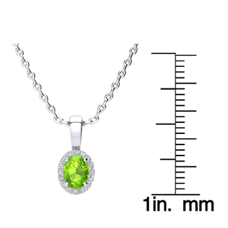 1/2 Carat Oval Shape Peridot and Halo Diamond Necklace In 14 Karat White Gold With 18 Inch Chain