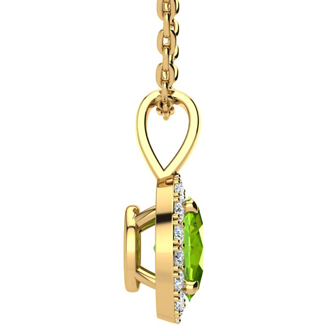 1/2 Carat Oval Shape Peridot and Halo Diamond Necklace In 14 Karat Yellow Gold With 18 Inch Chain