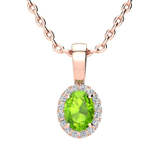1/2 Carat Oval Shape Peridot and Halo Diamond Necklace In 10 Karat Rose Gold With 18 Inch Chain