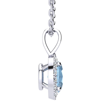 0.62 Carat Oval Shape Blue Topaz and Halo Diamond Necklace In 10 Karat White Gold With 18 Inch Chain