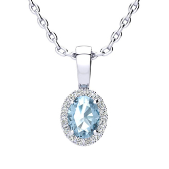 0.62 Carat Oval Shape Blue Topaz and Halo Diamond Necklace In 14 Karat White Gold With 18 Inch Chain