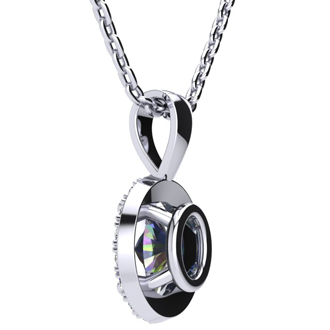 0.62 Carat Oval Shape Mystic Topaz and Halo Diamond Necklace In 10 Karat White Gold With 18 Inch Chain