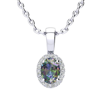 0.62 Carat Oval Shape Mystic Topaz and Halo Diamond Necklace In 14 Karat White Gold With 18 Inch Chain