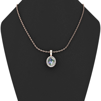 0.62 Carat Oval Shape Mystic Topaz and Halo Diamond Necklace In 10 Karat Rose Gold With 18 Inch Chain