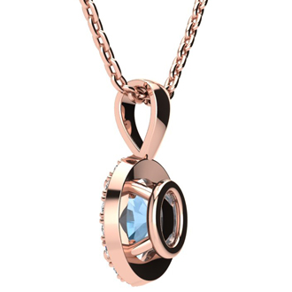 1/2 Carat Oval Shape Aquamarine and Halo Diamond Necklace In 10 Karat Rose Gold With 18 Inch Chain