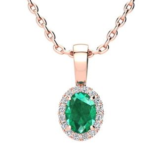 1/2 Carat Oval Shape Emerald and Halo Diamond Necklace In 10 Karat Rose Gold With 18 Inch Chain