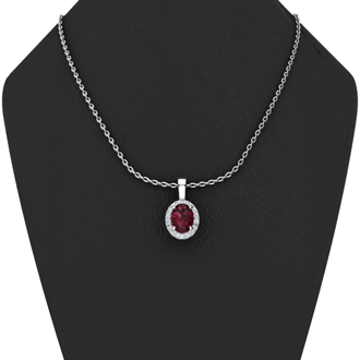 0.62 Carat Oval Shape Garnet and Halo Diamond Necklace In 10 Karat White Gold With 18 Inch Chain