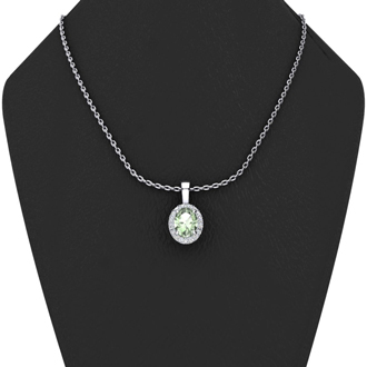 1/2 Carat Oval Shape Green Amethyst and Halo Diamond Necklace In 14 Karat White Gold With 18 Inch Chain