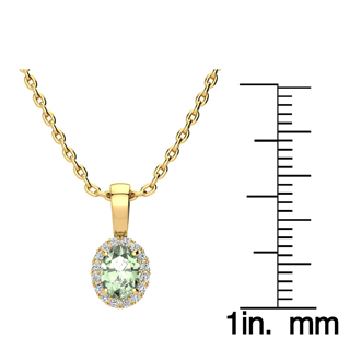 1/2 Carat Oval Shape Green Amethyst and Halo Diamond Necklace In 14 Karat Yellow Gold With 18 Inch Chain