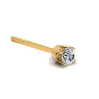 12 Point Single Diamond Stud Earring In 14 Karat Yellow Gold