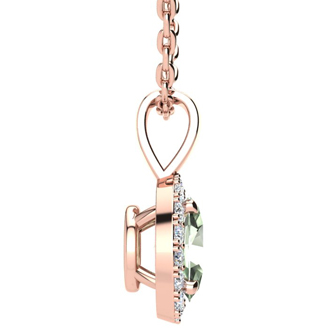1/2 Carat Oval Shape Green Amethyst and Halo Diamond Necklace In 10 Karat Rose Gold With 18 Inch Chain