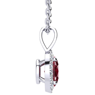 0.62 Carat Oval Shape Ruby and Halo Diamond Necklace In 14 Karat White Gold With 18 Inch Chain