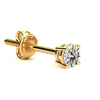 Classic 1/4ct Single Diamond Stud Earring in 14k Yellow Gold